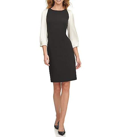 DKNY Contrast 3/4 Satin Sleeve Crepe Sheath Dress
