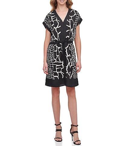 DKNY Crepe de Chine Mixed Giraffe Print V-Neck Drawstring Waist Shift Dress