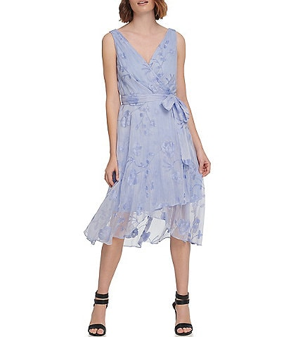 DKNY Crinkle Embroidered Floral Double V-Neck Faux Wrap Midi Dress