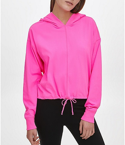 DKNY Sport Cropped Hoodie Logopatch Pullover