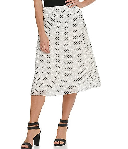 DKNY Dot Print Chiffon Pleated Pull-On A-Line Midi Skirt