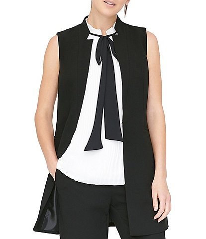 DKNY Double Weave Crepe Notch Collar Vest