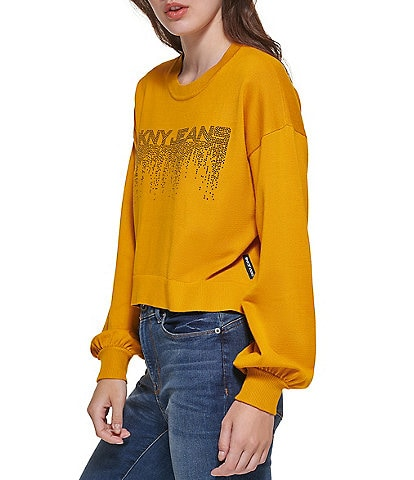 DKNY Drip Logo Crew Neck Long Sleeve Cropped Knit Pullover
