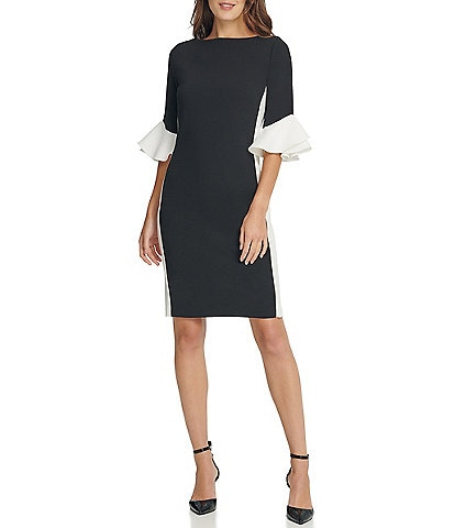 DKNY Elbow Sleeve Ruffle Cuff Colorblock Scuba Crepe Sheath Dress