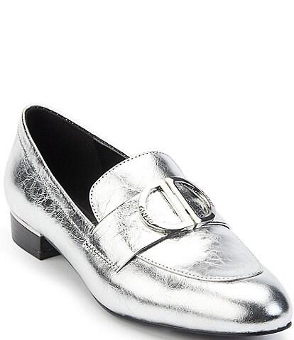 DKNY Eli Leather Logo Hardware Strap Loafers