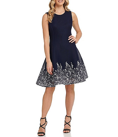 DKNY Embroidered Mesh Sleeveless Fit & Flare Dress