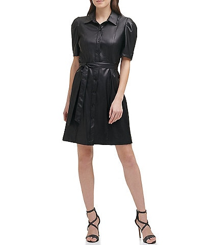 DKNY Faux Leather Point Collar Puff Short Sleeve Shirt Dress