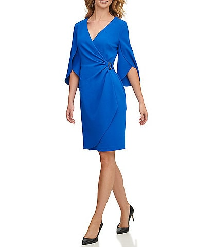 DKNY Faux Wrap 3/4 Tulip Sleeve Scuba Crepe Dress