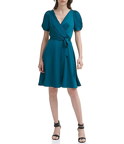 DKNY Fit and Flare Puff Sleeve V-Neck Wrap Dress