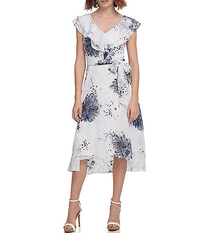 DKNY Floral Clip Chiffon Ruffle V-Neck Tie Waist Hi-Low Midi Dress