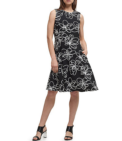 DKNY Floral Print Sleeveless Fit & Flare Dress