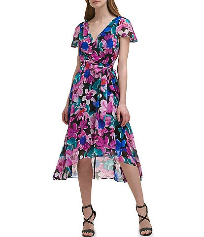 DKNY V-Neck Flutter Sleeve Faux Wrap Watercolor Floral Dress
