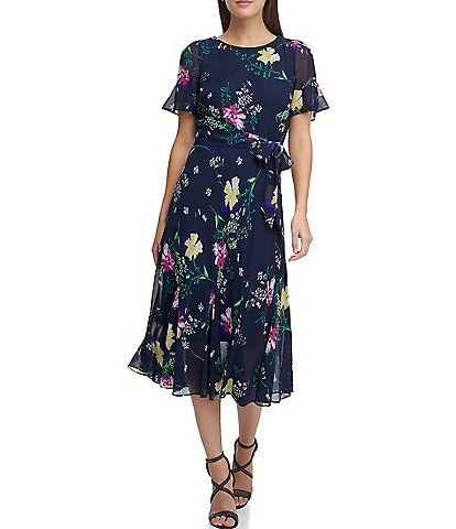 DKNY Flutter Sleeve Floral Chiffon Midi Dress