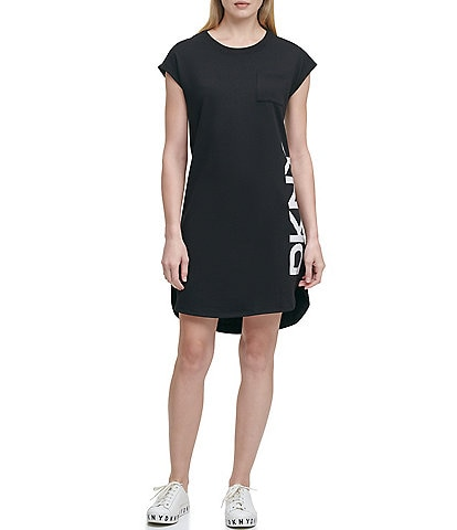 DKNY French Terry Knit Graphic Side Logo Cap Sleeve Hi-Low Shift Dress