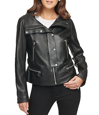 DKNY Genuine Lambskin Leather Snap Front Moto Jacket