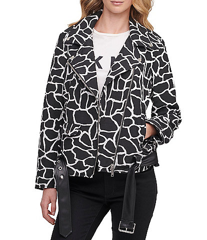 DKNY Giraffe Print Faux-Leather Belted Moto Jacket