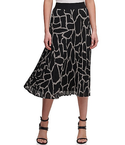 DKNY Giraffe Print Pleated Ribbed Knit Pull-On Midi Skirt
