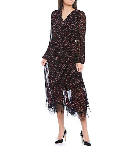 DKNY Heart Print Pleated Chiffon Long Sleeve Faux-Wrap Lace Hem Midi Dress