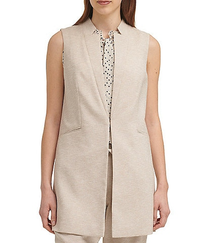 DKNY Heathered Twill Notch Collar Vest