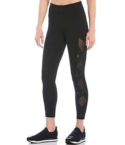 DKNY High Waist 7/8 Mesh Inset Criss Cross Legging