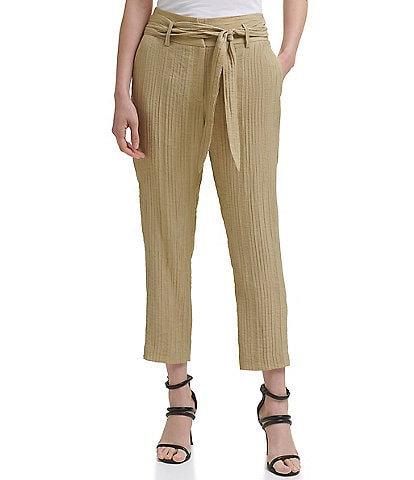 DKNY High Waist Flat Front Ankle length Tie Front Pants