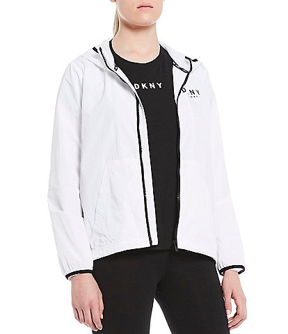 DKNY Sport Hooded Logo Long Sleeve Windbreaker Jacket