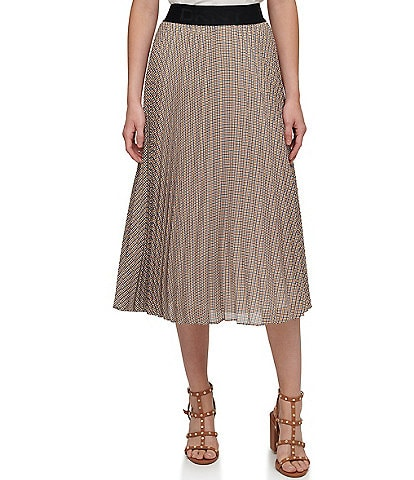 DKNY Houndstooth Plaid Print Pleated Chiffon A-Line Pull-On Midi Skirt
