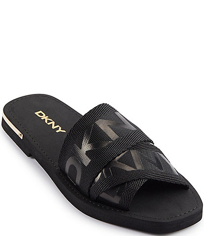 DKNY Isha Criss-Cross Band Strap Logo Slide Sandals