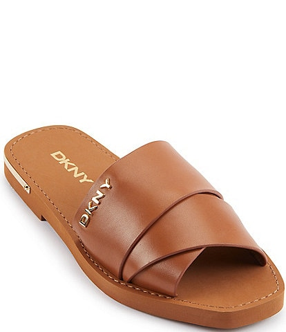 DKNY Isha Leather Slide Sandals