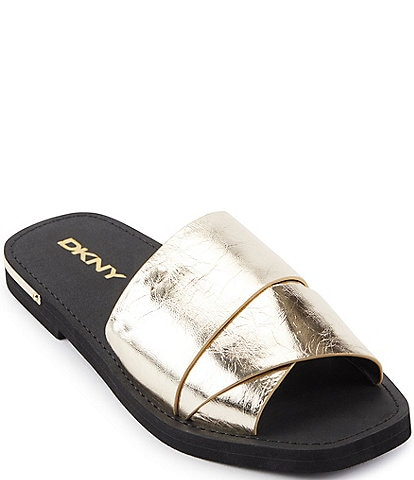 DKNY Isha Metallic Leather Slide Sandals