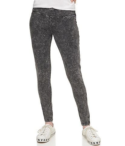 DKNY Jeans Acid Wash Stretch Cotton Knit Leggings
