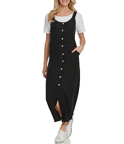 DKNY Jeans Button Front Scoop Neck Sleeveless Pinafore Dress