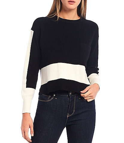 DKNY Jeans Colorblock Long Sleeve Patch Pocket Cotton Sweater