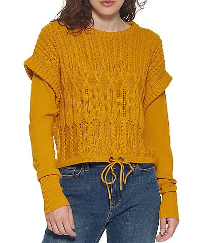 DKNY Jeans Crew Neck Drawstring Hem Cable Knit Twofer Statement Sweater