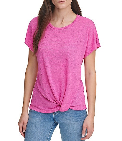 DKNY Jeans Solid Round Neck Dolman Sleeve Knot Front Detail Sweater Knit Top