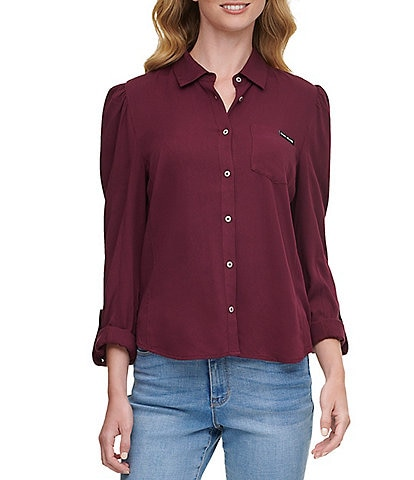 DKNY Jeans Solid Twill Woven Puff Shoulder Roll-Tab Long Sleeve Button Front Shirt