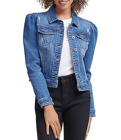 DKNY Jeans Stretch Denim Puff Sleeve Destruction Details Trucker Jacket