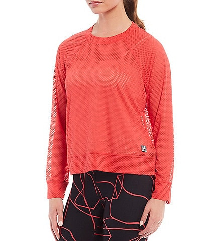 DKNY Sport Knit Honeycomb Long Sleeve Crew Neck Mesh Tee