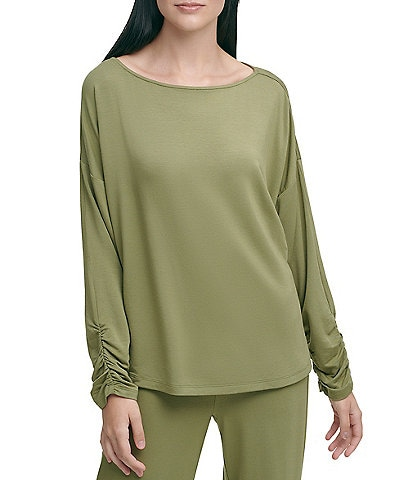 DKNY Luxe Knit Jersey Ruched Long Sleeve T-Shirt