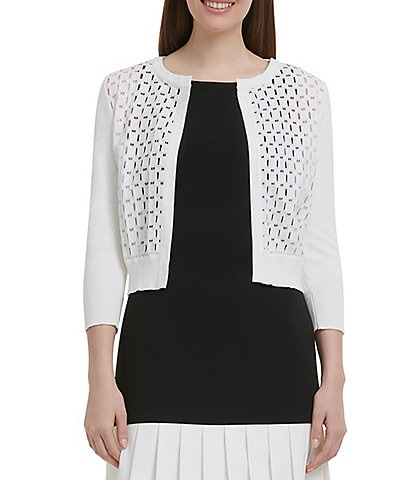 DKNY Lace Front 3/4 Sleeve Cardigan