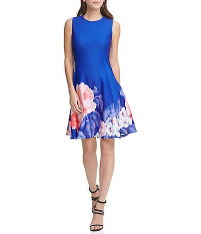 DKNY Large Floral Print Scuba Crepe Fit and Flare Dress