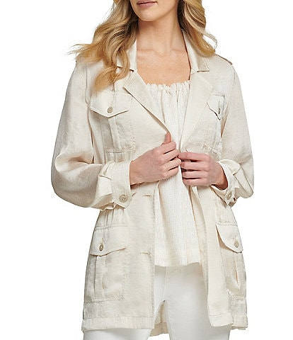 DKNY Lightweight Washer Satin Long Sleeve Utility Jacket