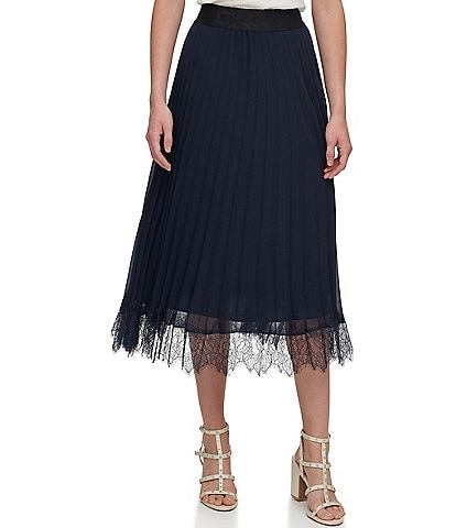DKNY Logo Waistband Pleated Chiffon Lace Hem Pull-On Midi Skirt