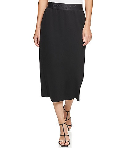 DKNY Logo Waistband Ponte Knit Pull-On Midi Skirt