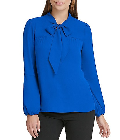 DKNY Long Puff Sleeve Tie Neck Blouse