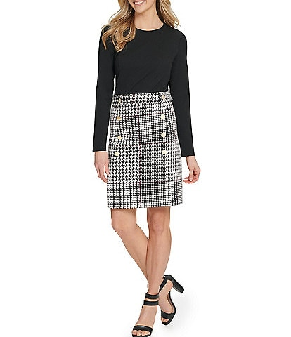 DKNY Long Sleeve Button Front Plaid Sheath Dress