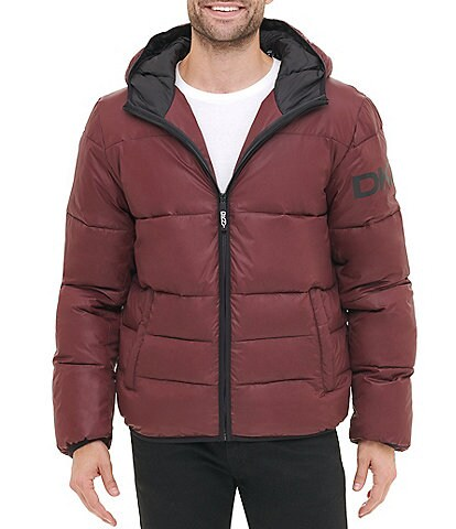 DKNY Long-Sleeve Classic Hooded Logo Quilted Puffer Jacket
