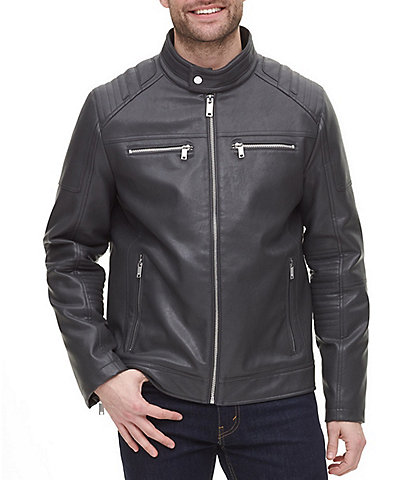 DKNY Long-Sleeve Faux-Leather Quilted Racer Jacket