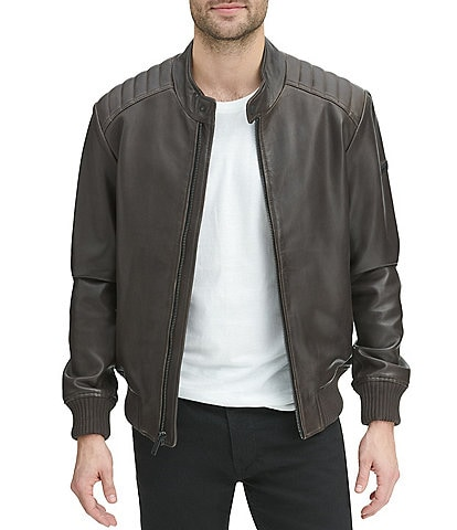 DKNY Long-Sleeve Faux-Leather Quilted-Shoulder Bomber Jacket