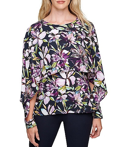DKNY Long Sleeve Floral Print Cape Top